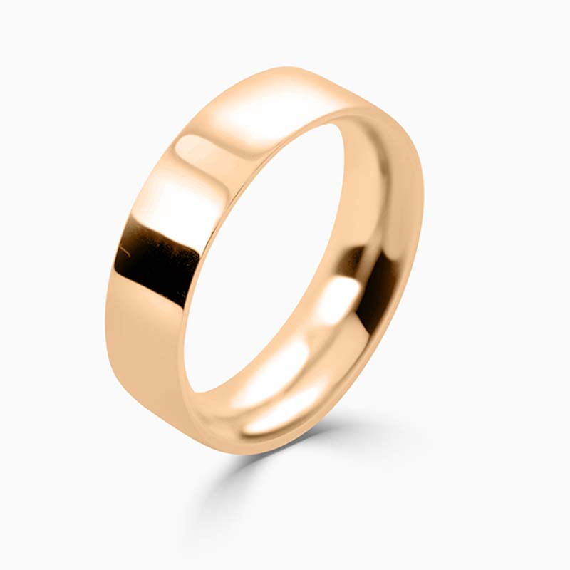 18ct Rose Gold 6mm Flat Court Heavy Weight Wedding Ring