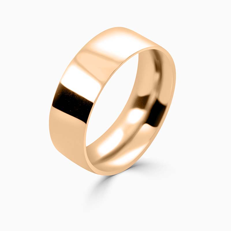 18ct Rose Gold 8mm Flat Court Heavy Weight Wedding Ring