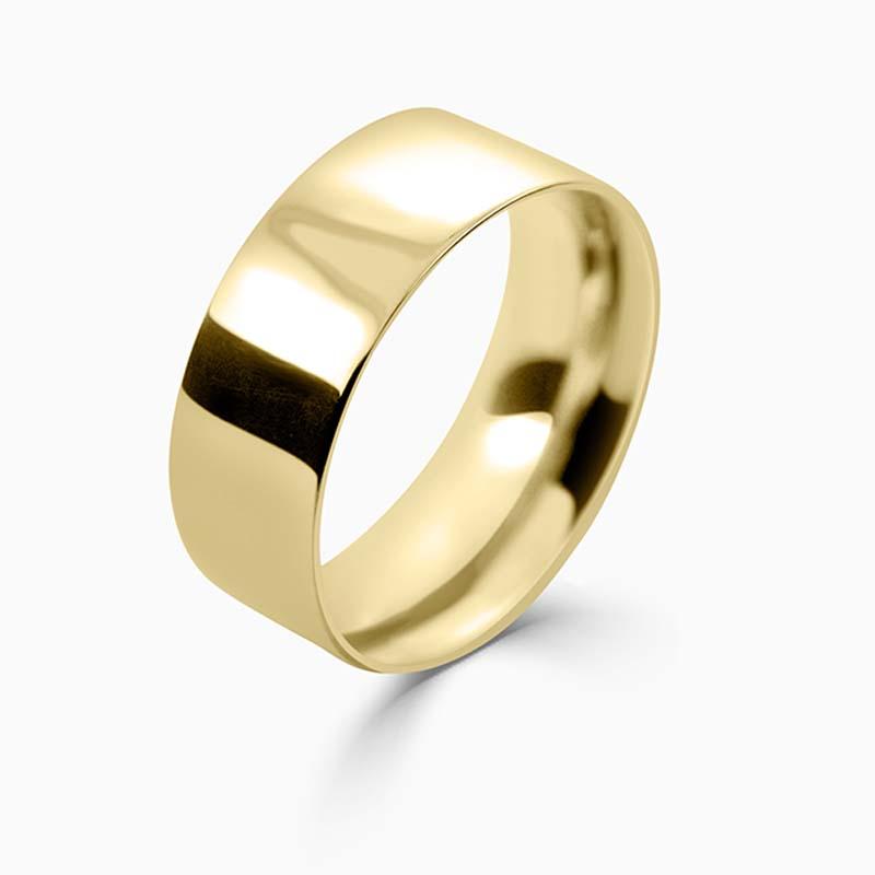 18ct Yellow Gold 8mm Flat Court Medium Weight Wedding Ring