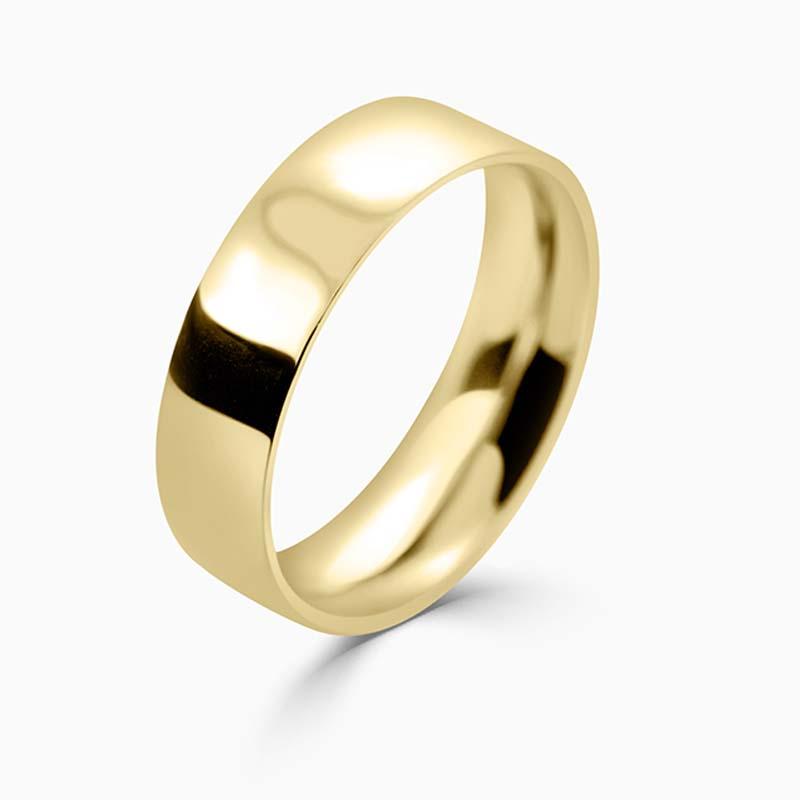 18ct Yellow Gold 6mm Flat Court Medium Weight Wedding Ring