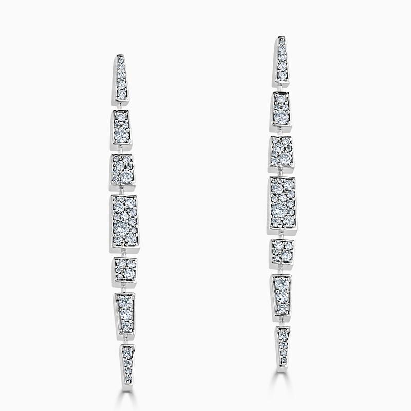 18ct White Gold Vintage Diamond Drop Earrings