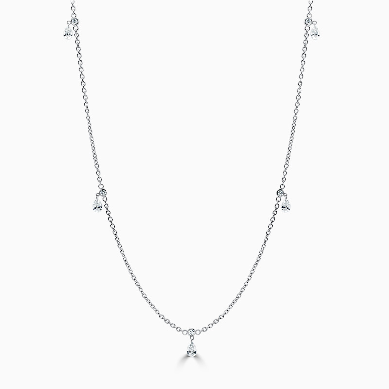 18ct White Gold Floating Diamond Necklace