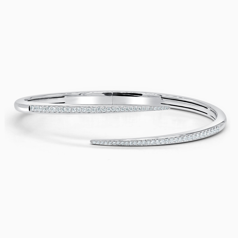 18ct White Gold Diamond Spike Bangle