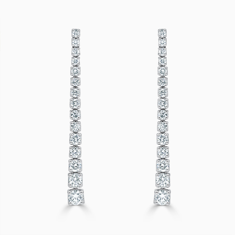 18ct White Gold Tapered Diamond Drop Earrings