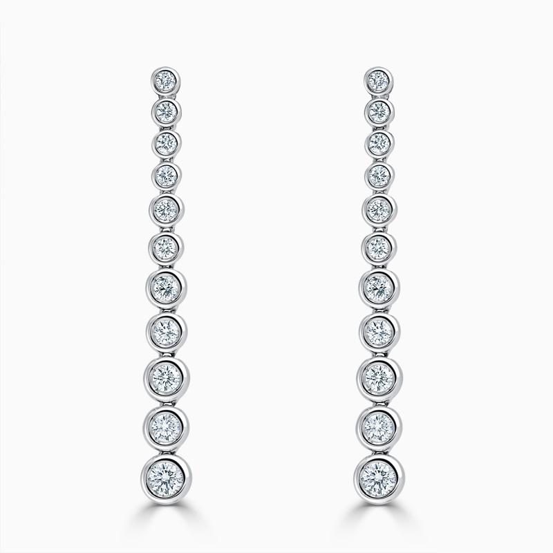18ct Rose Gold Rubover Set Diamond Drop Earrings