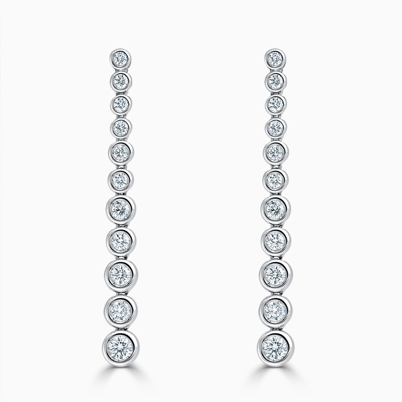 18ct White Gold Rubover Set Diamond Drop Earrings