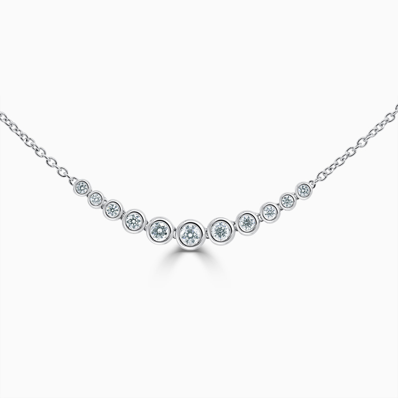 18ct Rose Gold Rubover Set Diamond Bracelet