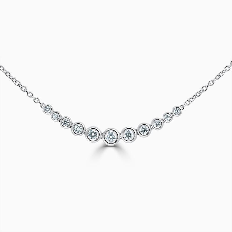 18ct White Gold Rubover Set Diamond Bracelet