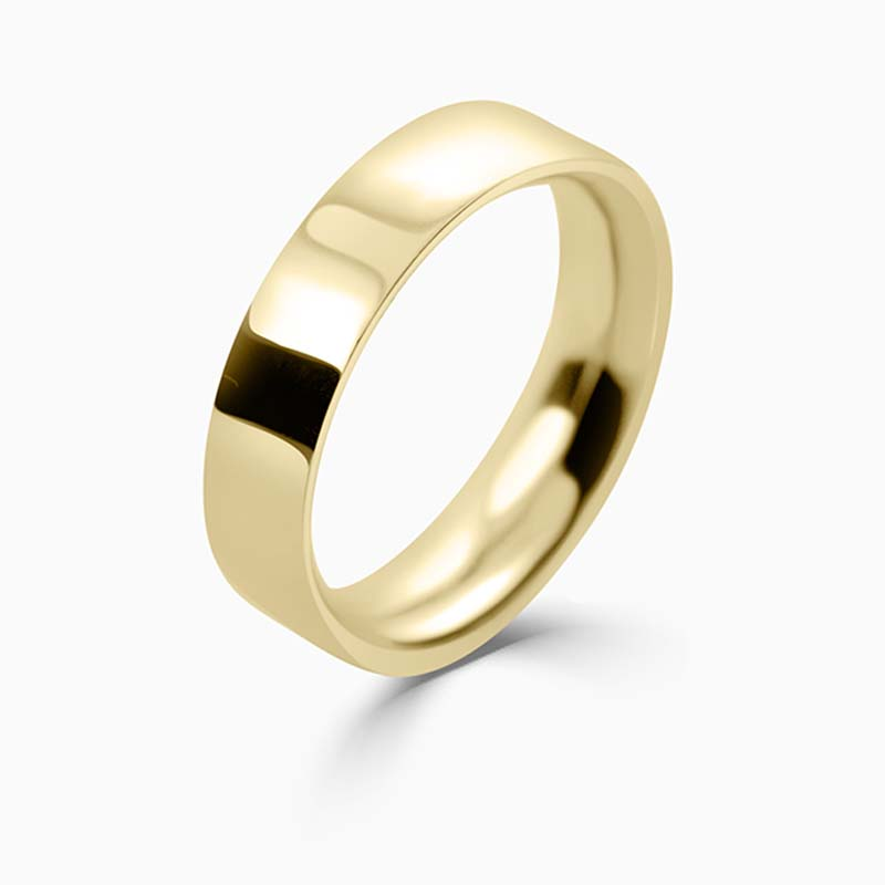 18ct Yellow Gold 5mm Flat Court Heavy Weight Wedding Ring
