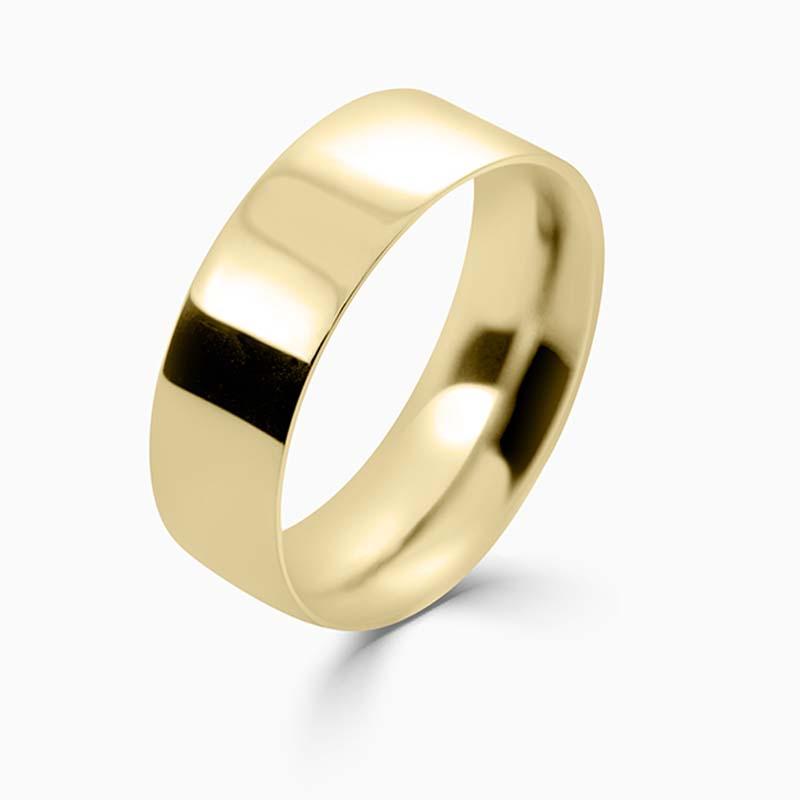 18ct Yellow Gold 7mm Flat Court Medium Weight Wedding Ring