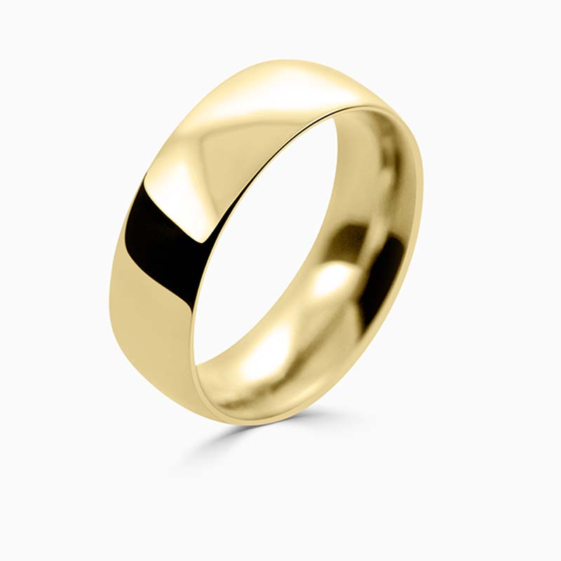 18ct Yellow Gold 7mm Court Shaped Heavy Weight Wedding Ring