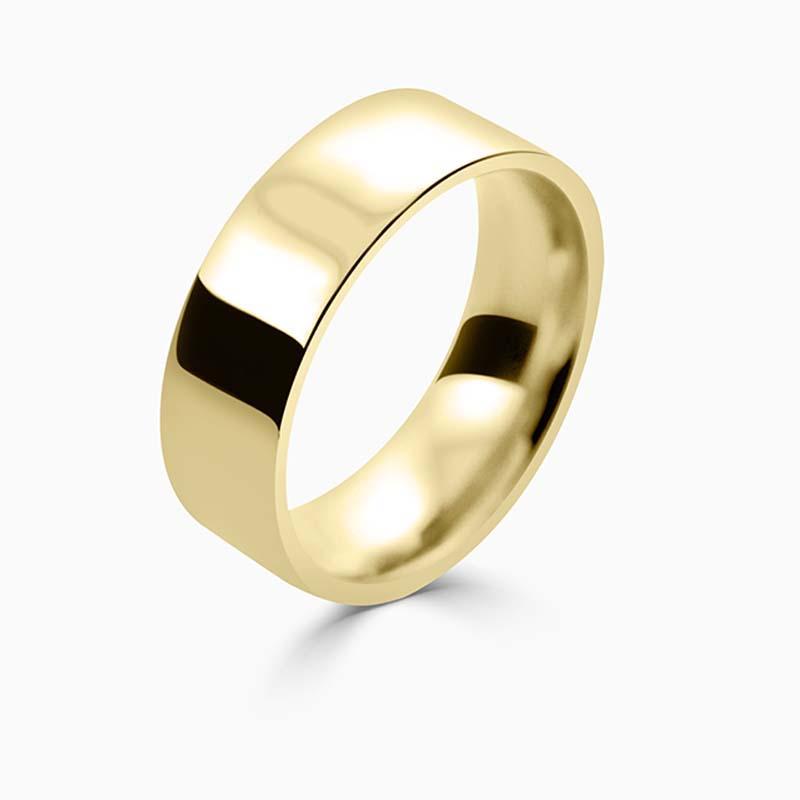 18ct Yellow Gold 7mm Flat Court Flat Edge Medium Weight Wedding Ring