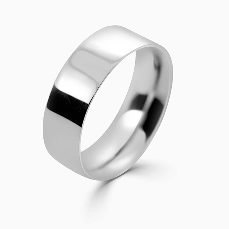 Platinum 7mm Flat Court Medium Weight Wedding Ring