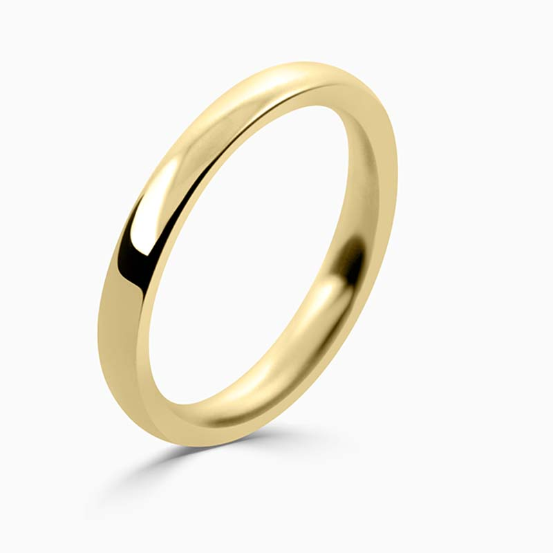 18ct Yellow Gold 2.5mm Court Shaped Heavy Weight Wedding Ring