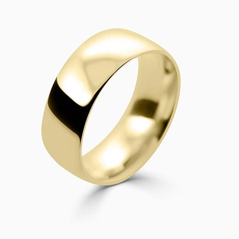 18ct Yellow Gold 8mm Court Shaped Medium Weight Wedding Ring