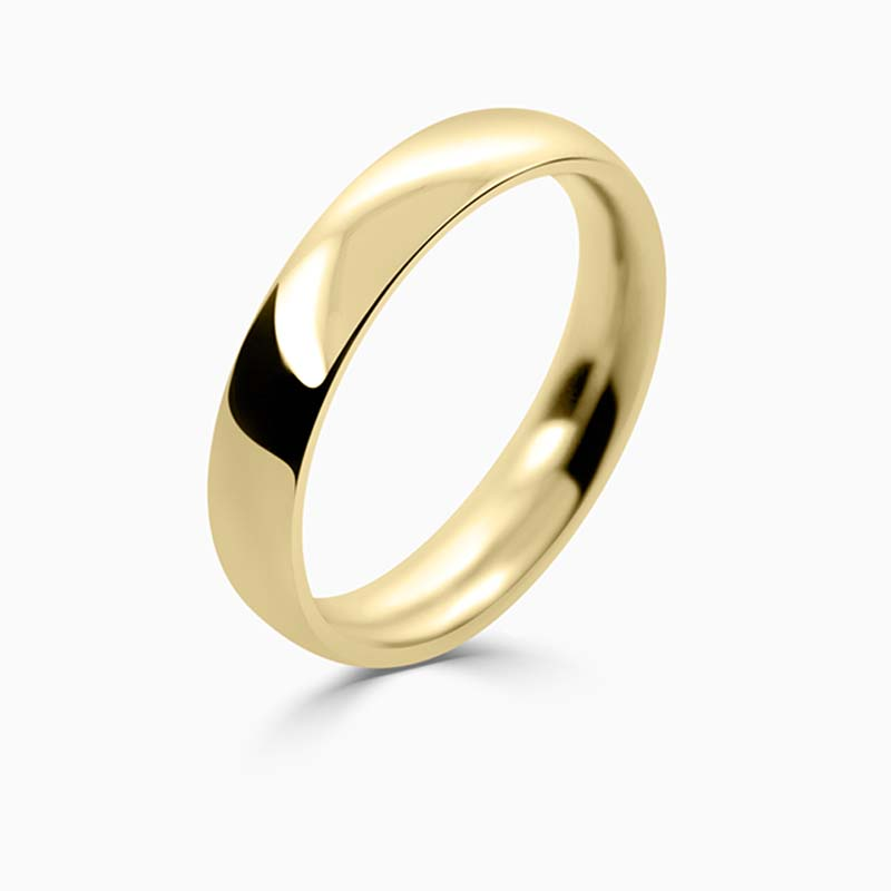 18ct Yellow Gold 4mm Court Shaped Heavy Weight Wedding Ring
