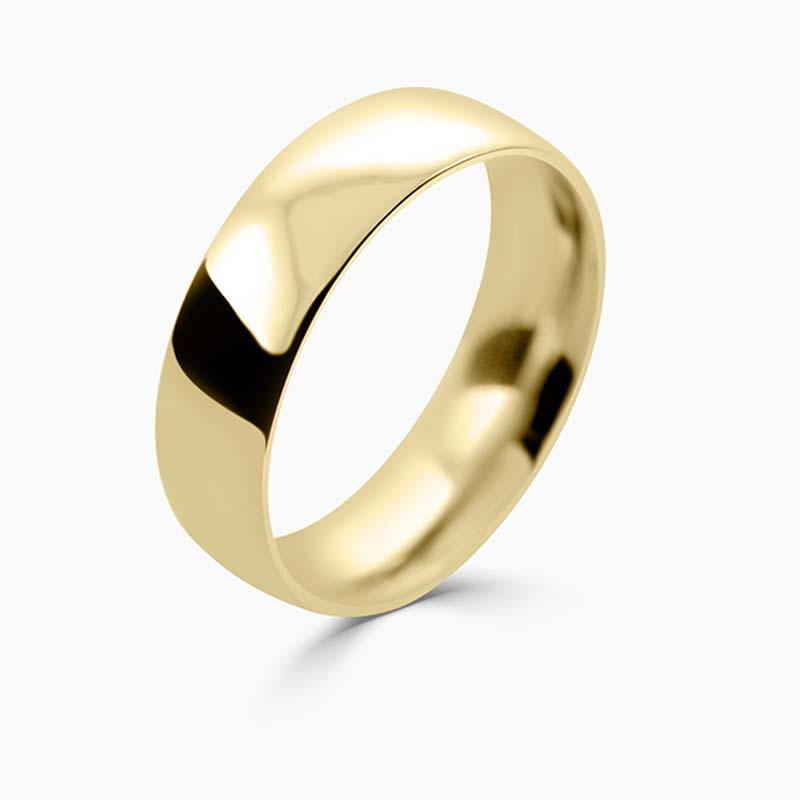 18ct Yellow Gold 6mm Court Shaped Medium Weight Wedding Ring