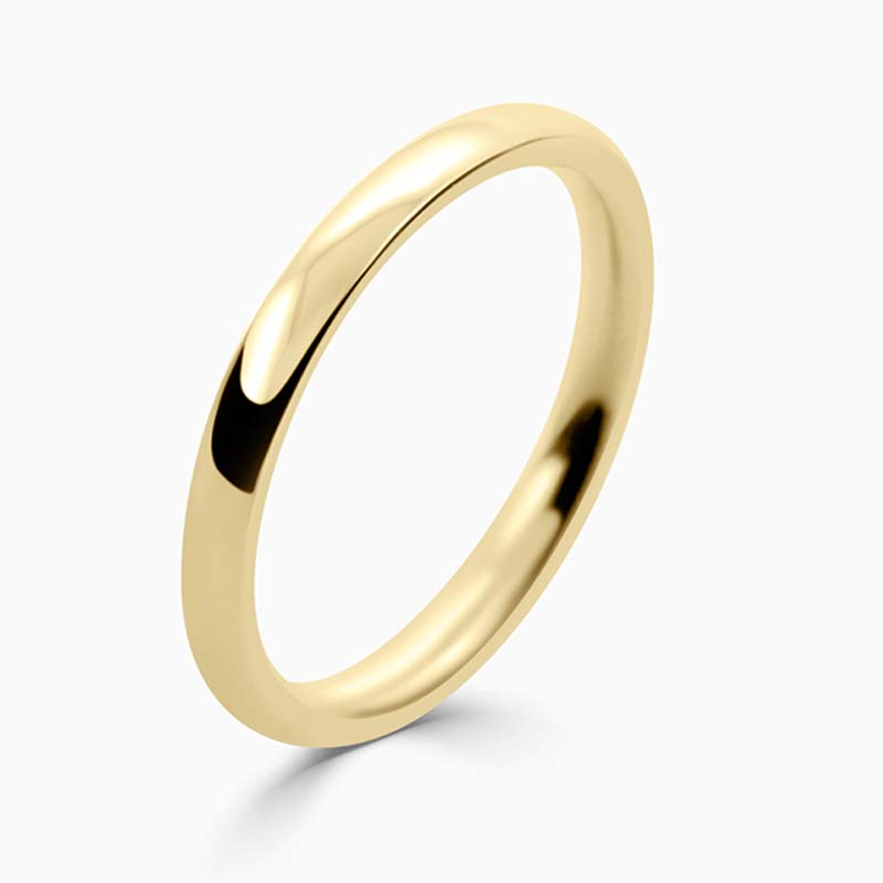 18ct Yellow Gold 2mm Court Shaped Medium Weight Wedding Ring