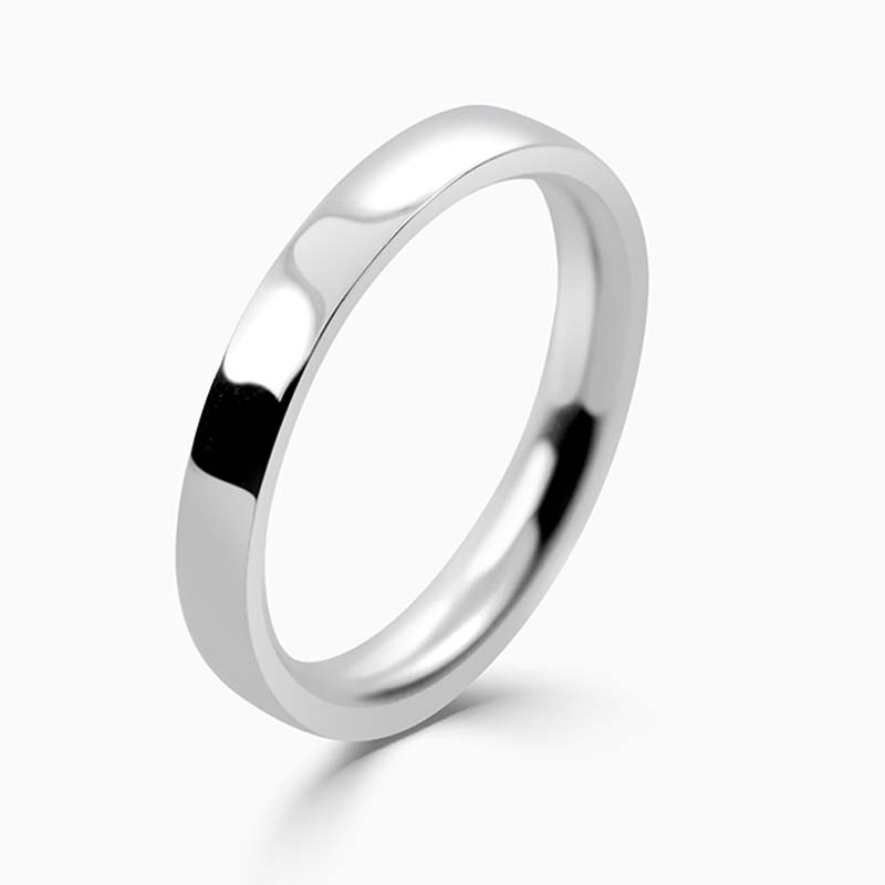 Palladium 2.5mm Flat Court Medium Weight Wedding Ring