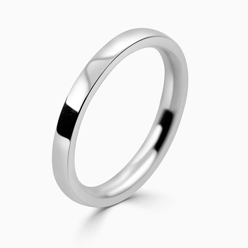 Palladium 2mm Flat Court Medium Weight Wedding Ring