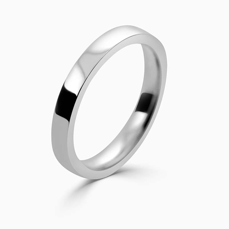 Palladium 2.5mm Flat Court Flat Edge Medium Weight Wedding Ring