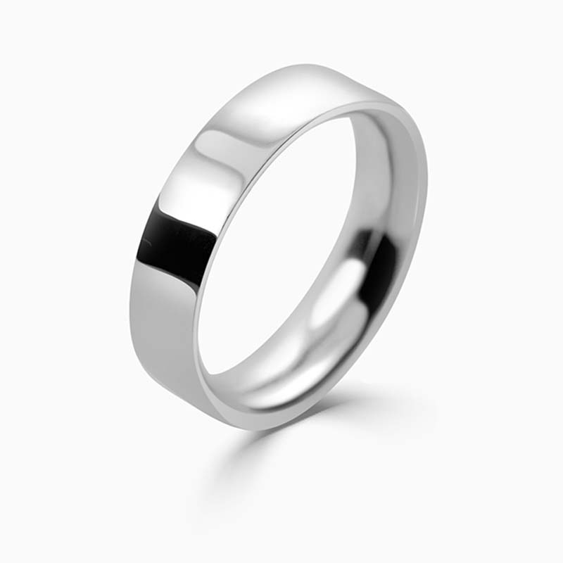 Palladium 5mm Flat Court Heavy Weight Wedding Ring