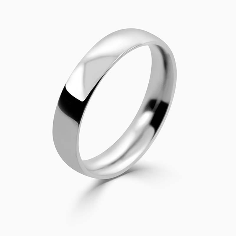 Palladium 4mm Court Shaped Medium Weight Wedding Ring