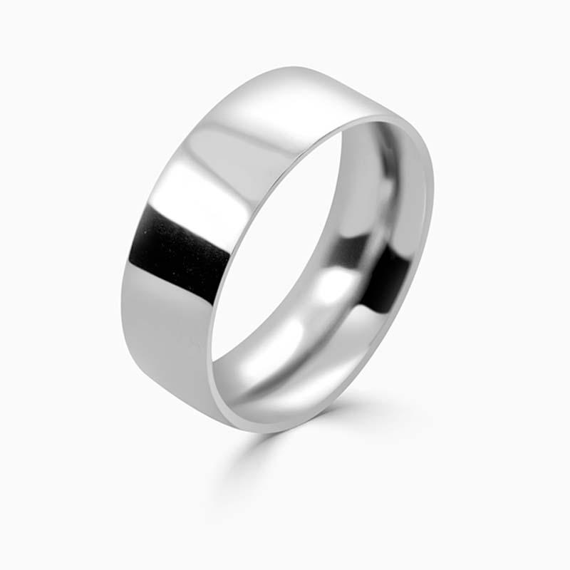 Palladium 8mm Flat Court Heavy Weight Wedding Ring