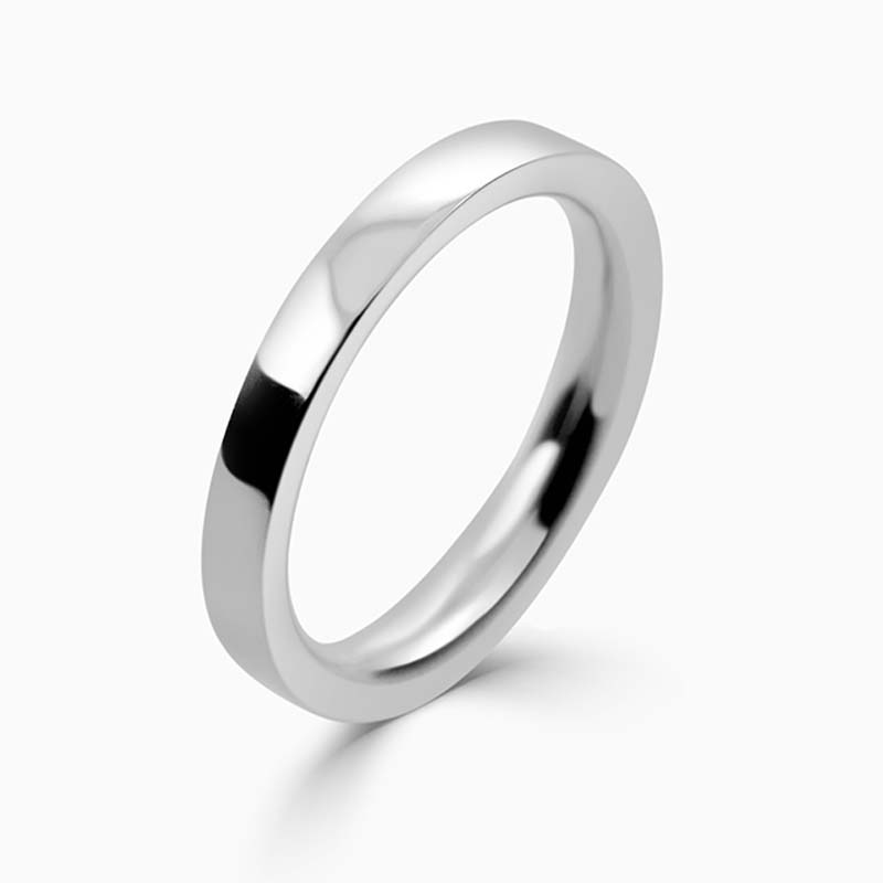 Platinum 2.5mm Flat Court Heavy Weight Wedding Ring