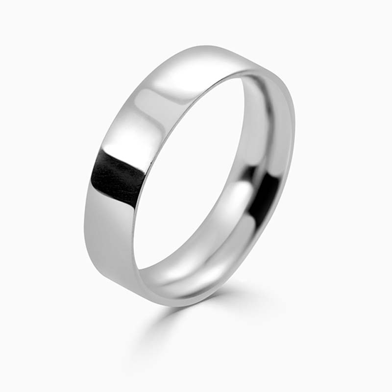 Platinum 5mm Flat Court Medium Weight Wedding Ring