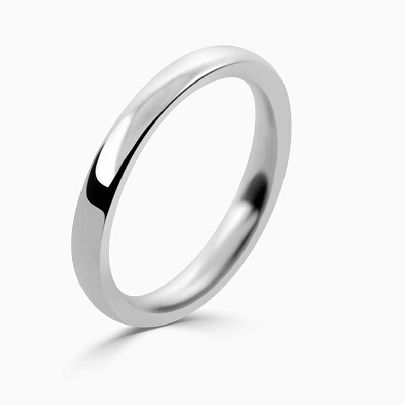 Platinum 2.5mm Court Shaped Heavy Weight Wedding Ring