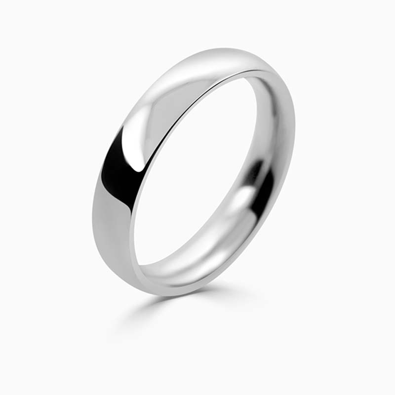 Platinum 4mm Court Shaped Heavy Weight Wedding Ring