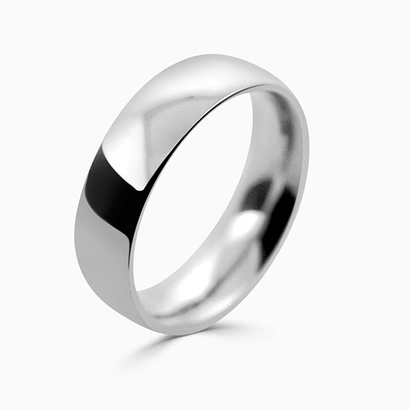 Platinum 6mm Court Shaped Heavy Weight Wedding Ring