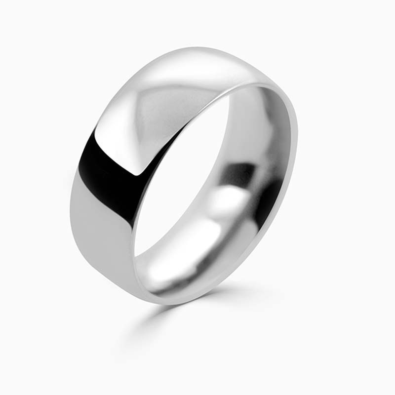 Platinum 8mm Court Shaped Heavy Weight Wedding Ring