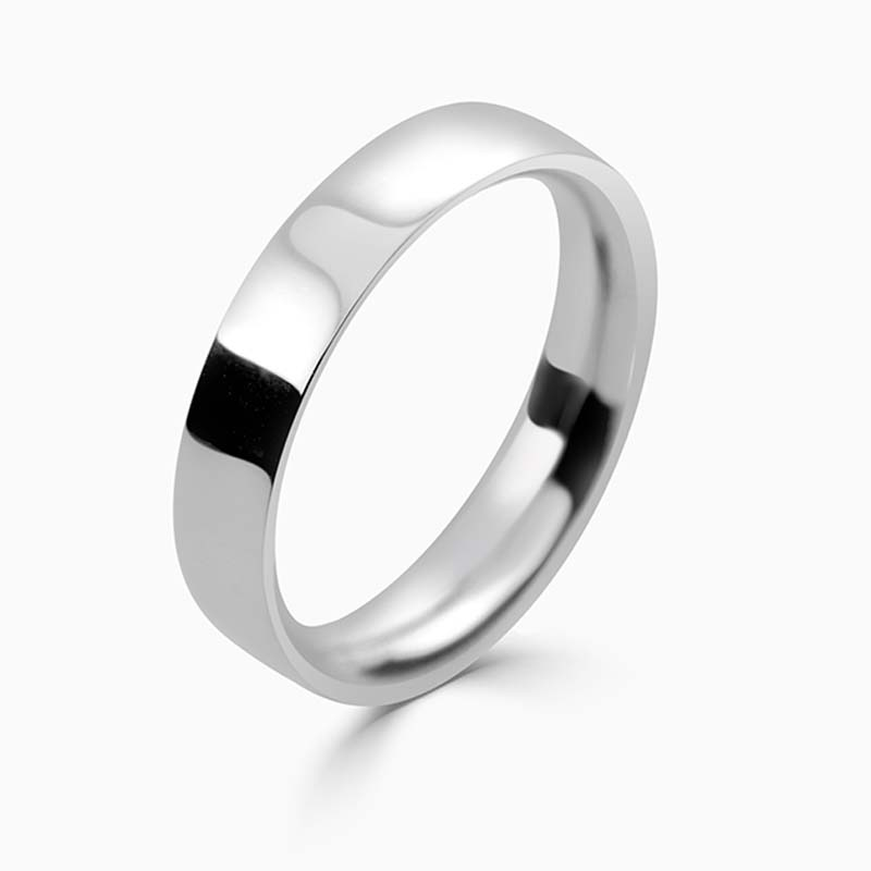 Platinum 4mm Flat Court Medium Weight Wedding Ring