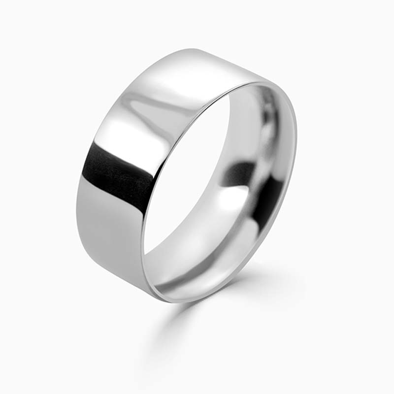 Platinum 8mm Flat Court Medium Weight Wedding Ring