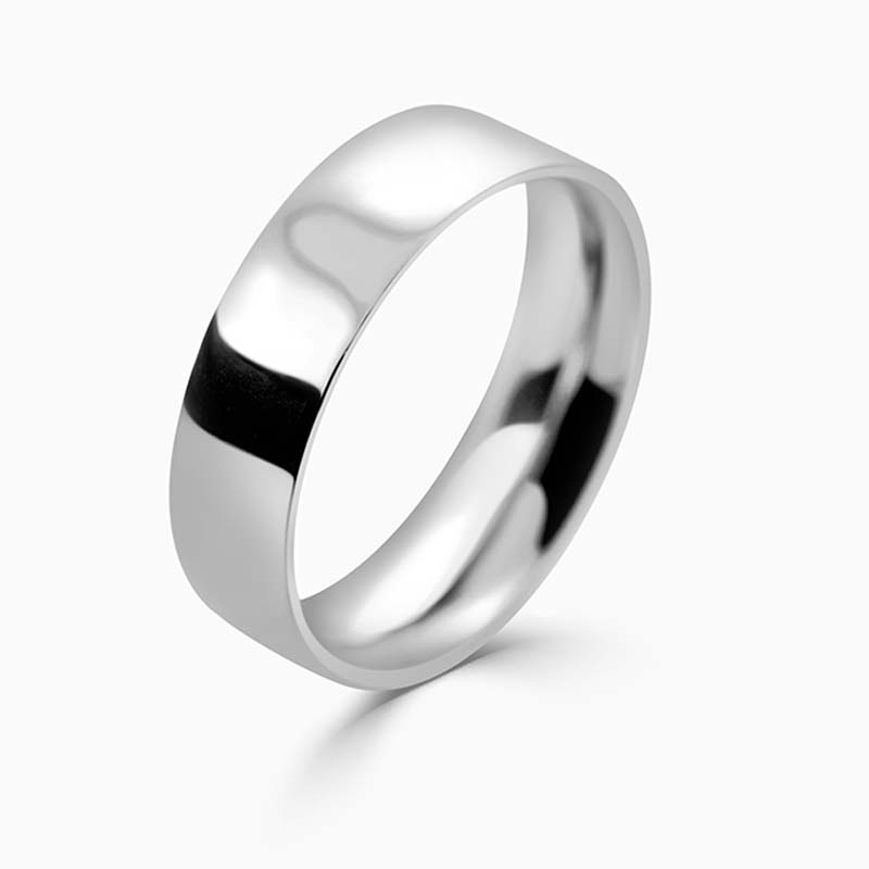Platinum 6mm Flat Court Medium Weight Wedding Ring