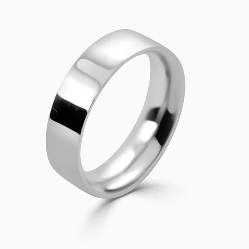 Platinum 6mm Flat Court Heavy Weight Wedding Ring