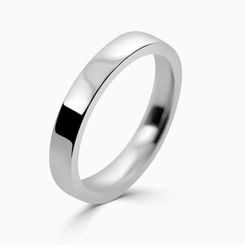 18ct White Gold 4mm Flat Court Light Weight Wedding Ring
