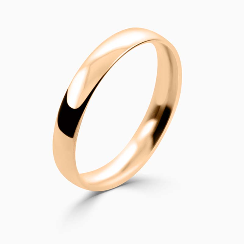18ct Rose Gold 3mm Court Shaped Light Weight Wedding Ring