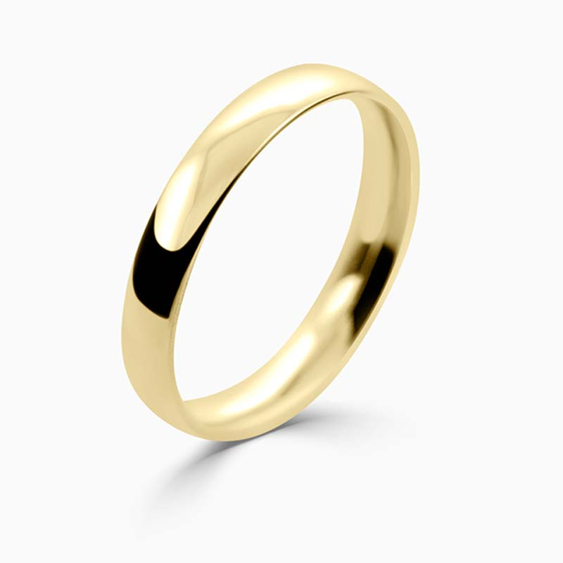 18ct Yellow Gold 3mm Court Shaped Light Weight Wedding Ring