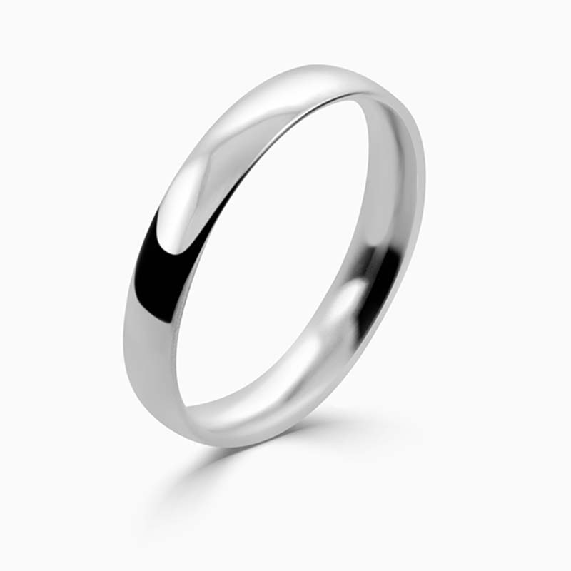 Platinum 3mm Court Shaped Light Weight Wedding Ring