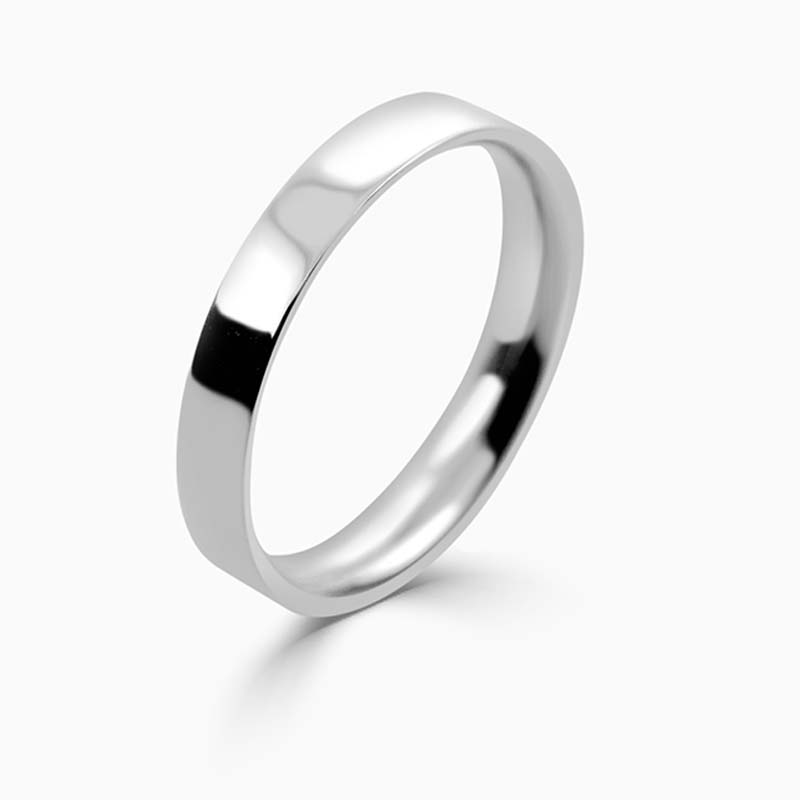 Platinum 3mm Flat Court Light Weight Wedding Ring