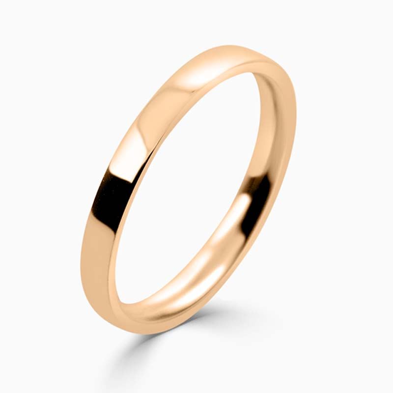 18ct Rose Gold 2mm Flat Court Light Weight Wedding Ring