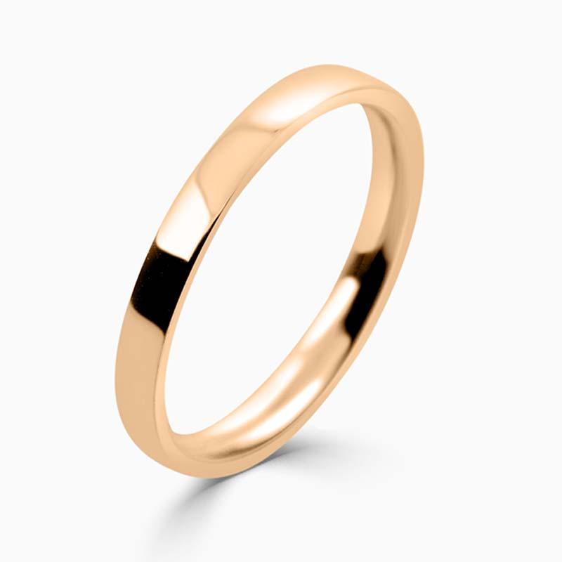 18ct Rose Gold 2mm Flat Court Light Weight Wedding Ring