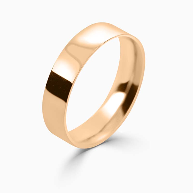 18ct Rose Gold 5mm Flat Court Light Weight Wedding Ring