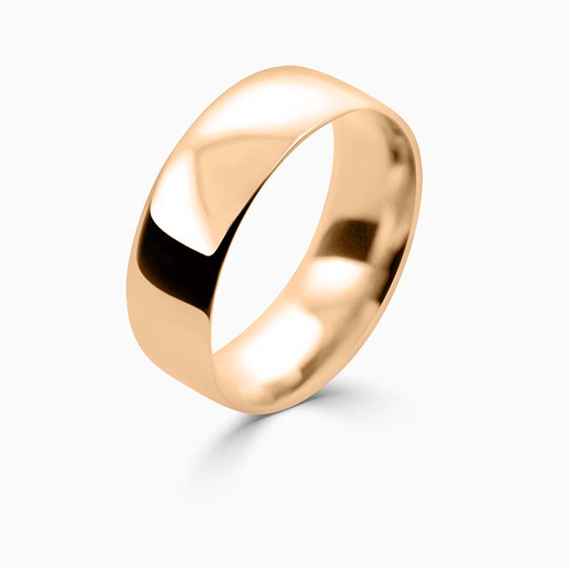 18ct Rose Gold 7mm Court Shaped Light Weight Wedding Ring