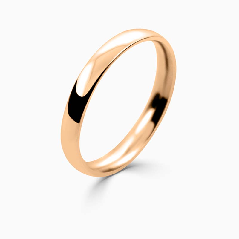 18ct Rose Gold 2.5mm Court Shaped Light Weight Wedding Ring