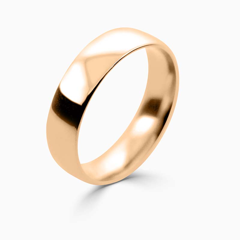 18ct Rose Gold 5mm Court Shaped Light Weight Wedding Ring