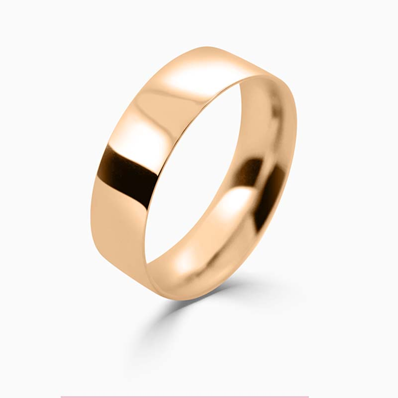 18ct Rose Gold 6mm Flat Court Light Weight Wedding Ring